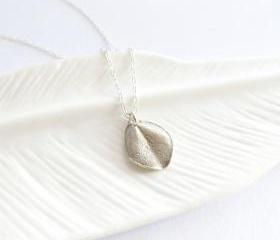 Tiny ohi'a leaf necklace