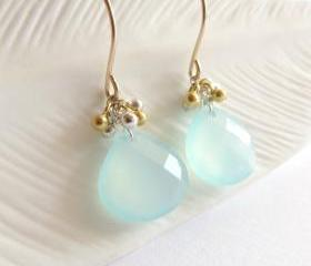 Chalcedony briolette mixedmetal earrings
