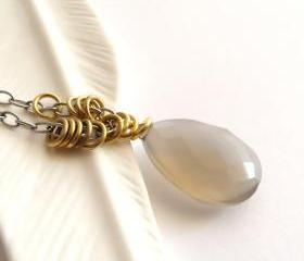 Long fawn chalcedony necklace